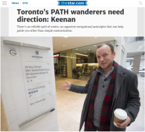 February 13, 2016 - Toronto Star: Toronto's PATH wanderers need direction: Keenan