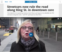 November 13, 2017 - Toronto Star: Streetcars now rule the road along King St. in downtown core