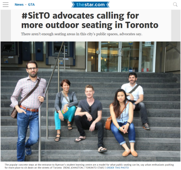 June 2, 2016 - Toronto Star: #SitTO Advocates calling for more outdoor seating in Toronto