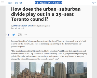 July 28, 2019 - Toronto Star: How does the urban-suburban divide play out in a 25-seat Toronto council?
